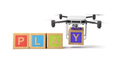 3d rendering of four colorful ABC blocks forming word PLAY, quadcopter with camera putting final letter Y at the end isolated on white background
