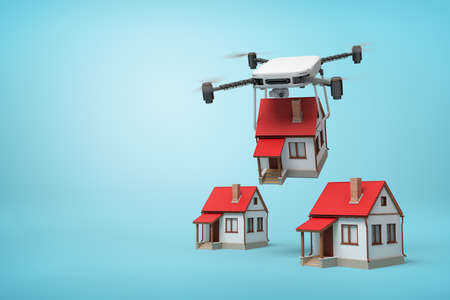 3d rendering of camera drone carrying small cottage and putting it down to two identic cottages standing on light blue background with copy space.