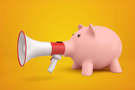 3d rendering of pink piggy bank with big megaphone instead of snout on amber background.