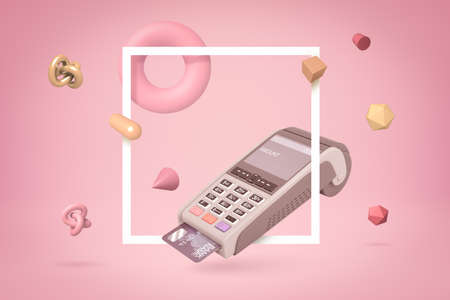 3d rendering of PIN pad with bank card inside and random objects on pink background