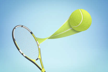 3d rendering of tennis racket and yellow tennis ball with trail on blue background