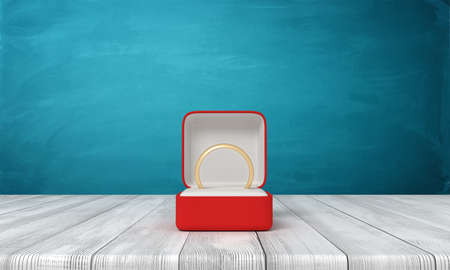 3d rendering of open red box with gold ring lying in it, on wooden table near blue wall.