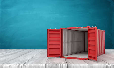 3d rendering of open empty red shipping container on white wooden floor and dark turquoise background Stock fotó