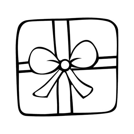 Illustration of a box with a gift. Surprise. Colorless background. Coloring book for children. Christmas. New Year. Birthday. Holiday print.