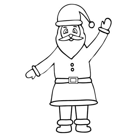 Illustration of Santa Claus. Fairytale character. Colorless background. Coloring book for children. Christmas. New Year. Holiday print.  일러스트