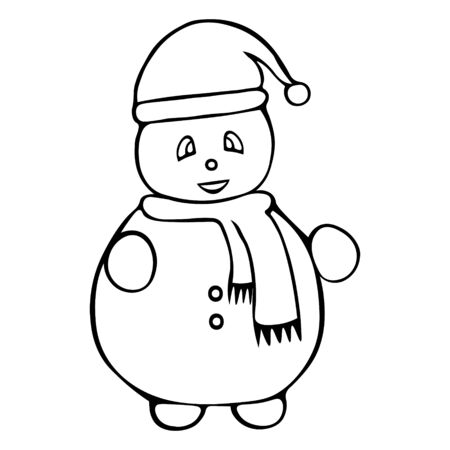 Illustration of a snowman. Fairytale character. Colorless background. Coloring book for children. Christmas. New Year. Holiday print.
