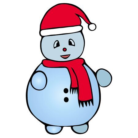 Color illustration of a snowman. Fairytale character. Colorless background. Christmas. New Year. Holiday print.