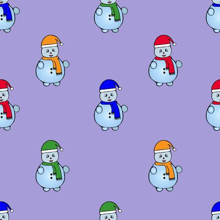 Snowman pattern. Fairytale character. Lilac background. Christmas. New Year. Holiday print.