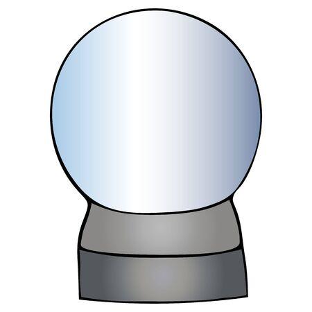 Magic Crystal. Crystal ball. Colorless background. Christmas. New Year. Holiday print.