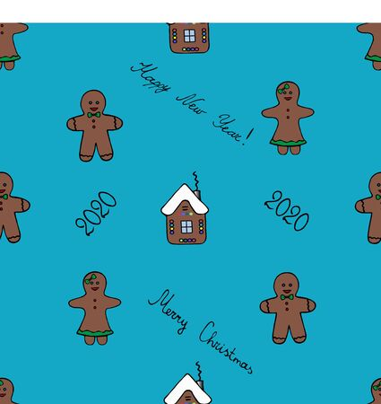 Gingerbread house and little men pattern. Shortbread. Azure background. Christmas. New Year. Holiday print. Иллюстрация