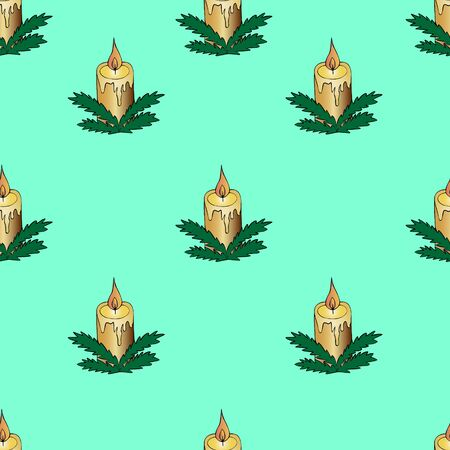 Christmas candle pattern. Vector. Hot flame. Background gentle mint. Divination. Christmas. New Year. Holiday print. Illustration