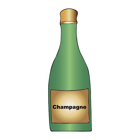 Color illustration of a champagne bottle. A sparkling wine. Colorless background. Christmas. New Year. Holiday print. Ilustração