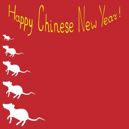 Holiday card - white rat. Red background. Vector. Happy chinese new year. Eastern calendar. Holiday print.
