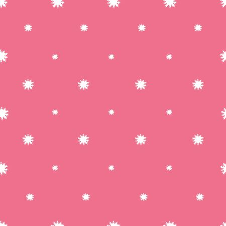 Pattern with snow-white snowflakes. Pink background. Fragile crystals. Vector. Ideas for the fabric. Christmas. New Year. Holiday print.