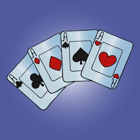 Color illustration of a square of aces. Face. Divination. Show magic tricks. Play the fool and poker. Gambling Vector. Violet background. Illusztráció