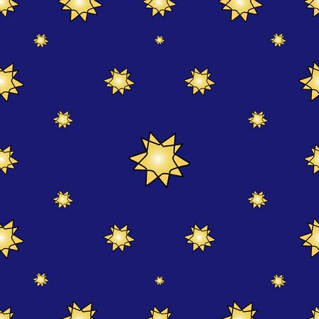 Starry sky pattern. Blue background. Night, yellow lights. Holiday print. Standard-Bild - 136547575