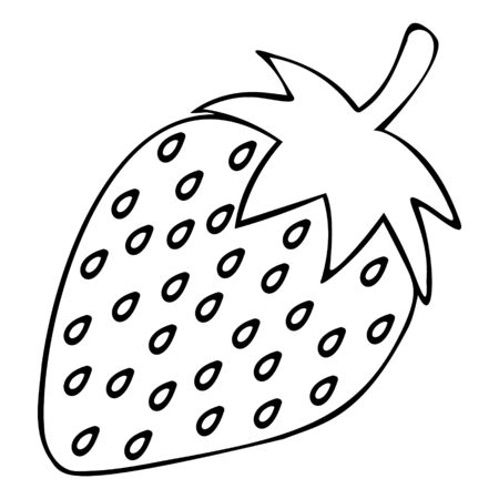Juicy strawberries. Ripe berry. Vector. Colorless background. Coloring book for children. Illustration for Valentine's day. Holiday sketch.