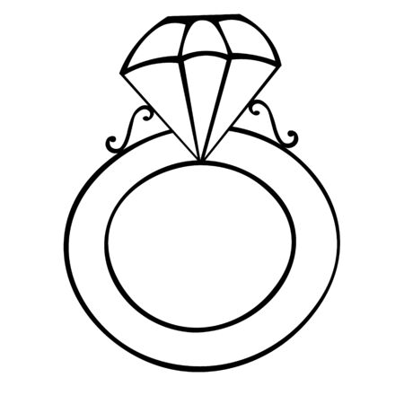 Signet with a diamond. Stylish decoration. Vector. Colorless background. Coloring book for children. Illustration for Valentine day, wedding. Holiday sketch.