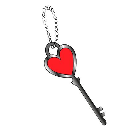 Color vector illustration of a heart-shaped key. The keychain is made of a metal chain. Isolated a colorless background. The idea for stickers, book design, magazine, invitation to the feast. Valentine day. Festive print.