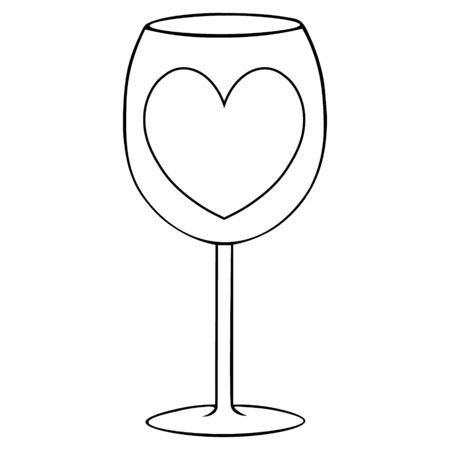 A wine glass with a heart. Outline of a crystal glass on an isolated background. Vector illustration. Idea for a book, magazine. Coloring book for children and adults. Valentine day. Holiday sketch. Banque d'images - 137641602
