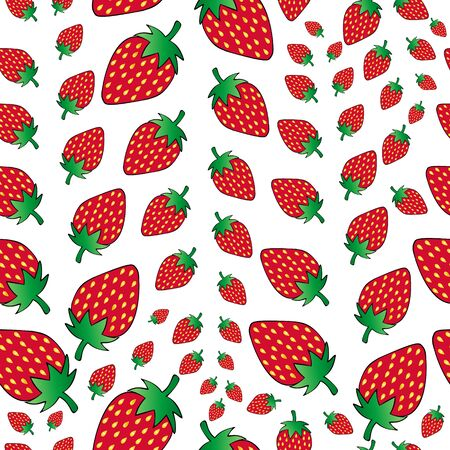Juicy strawberry pattern. Bright berry with seeds. Vector stock illustration on an isolated background. The idea for the cover, of cover, books, Notepad, Wallpaper, fabric. Valentine day. Holiday print.