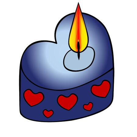 Color vector illustration of a heart-shaped candle with an ornament. Hot flames. On an isolated background. Idea for a sticker, book, magazine. Cartoon style. Valentine day. Holiday print.