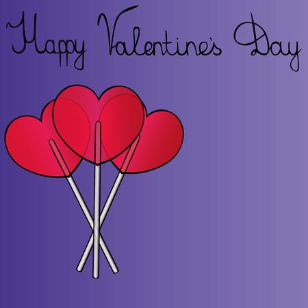 Greeting card a bouquet of sugar candies on a stick, in the form of a heart. Purple background. Vector. An idea for decorating a greeting, book, or magazine. Valentine day. Holiday print. Stock fotó - 138440137