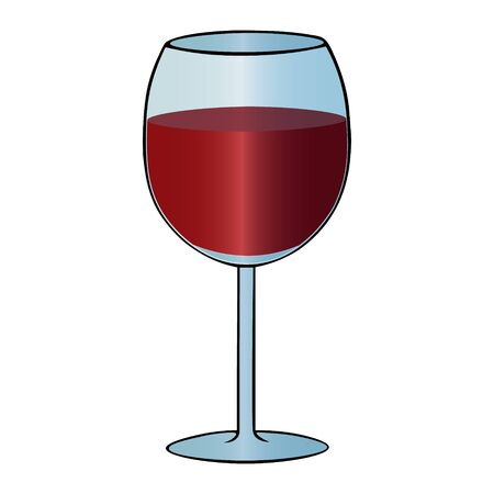 Color vector illustration of a glass of red wine on an isolated background. Tart drink. Idea for a sticker, book, magazine. Valentine day. Holiday print.