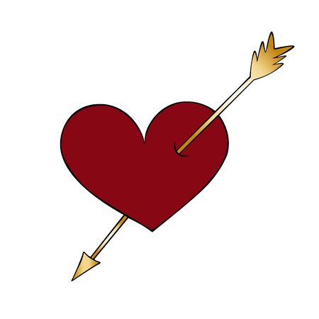 Color vector illustration of an arrow piercing a heart. Hit the target. Valentine day, wedding. On an isolated background. Idea for sticker, book, magazine. Holiday print.