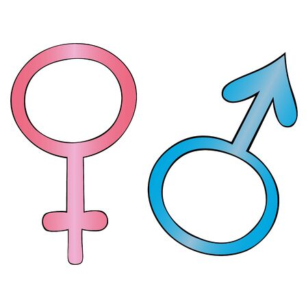 Color vector illustration of gender symbols. Male and female. Signs on an isolated background. Idea for a sticker, design of educational literature. Convention. Иллюстрация