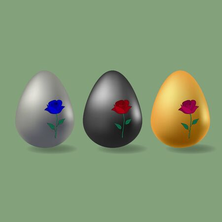 Color vector illustration Easter eggs of different colors cast a shadow. Gold, silver, black. Ornament in the form of a rose. On an olive background. Idea for a sticker, book, magazine. Easter. Holiday print. Stock Illustratie