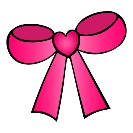 Color vector illustration of a pink bow with a heart. Stylish decoration on an isolated background. Valentine day, wedding. Idea for a sticker, web design, invitation design, book. Holiday print.