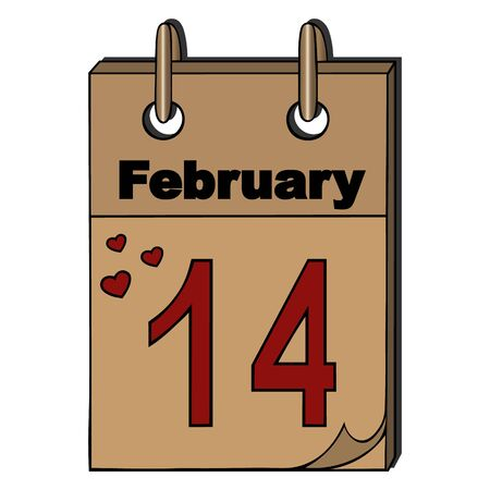 Color vector illustration of a tear-off calendar, date February 14. On an isolated background. Retro-style. Idea for a book, magazine, greeting card, or sticker. Valentine day. Holiday print.
