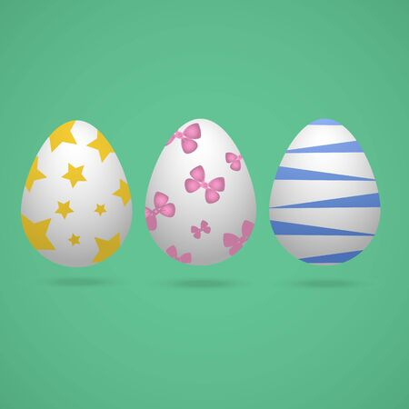 Color vector illustration of white Easter eggs with different ornaments. Stars, bows, stripes. On a green background. Idea for a sticker, book, magazine. Easter. Holiday print.