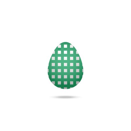 Color vector illustration of a white Easter egg with an ornament in the form of a green cell. Outline on an isolated background. There is a shadow and volume. Idea for a sticker, book, magazine. Easter. Holiday print. Ilustracja