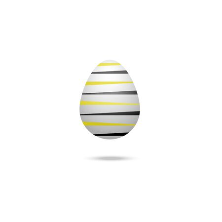 Color vector illustration of a white Easter egg with a bumblebee ornament, black and yellow stripes. Outline on an isolated background. There is a shadow and volume. Idea for a sticker, book, magazine. Easter. Holiday print.