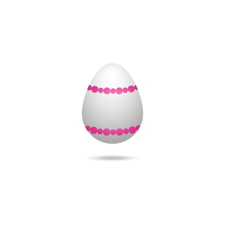 Color vector illustration of a white Easter egg with a pink necklace ornament. Outline on an isolated background. There is a shadow and volume. Idea for a sticker, book, magazine. Easter. Holiday print. Ilustrace