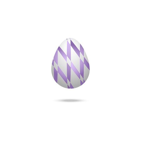 Color vector illustration of a white Easter egg with purple ribbon ornament. Outline on an isolated background. There is a shadow and volume. Idea for a sticker, book, magazine. Easter. Holiday print.