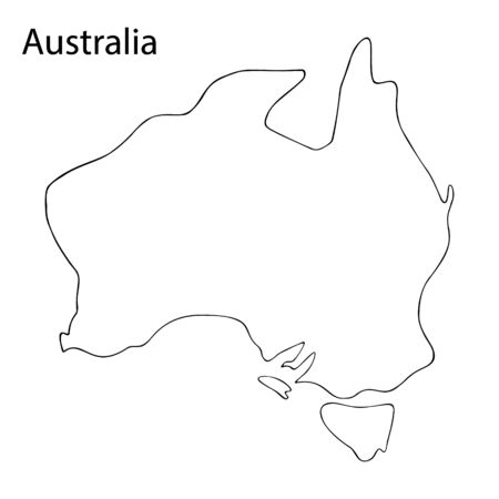 Mainland Australia. A state located in the southern hemisphere. Vector stock illustration. Outline on an isolated background. Coloring book for children and adults. Idea for a book, magazine, or web design. Colorless sketch. Ilustração