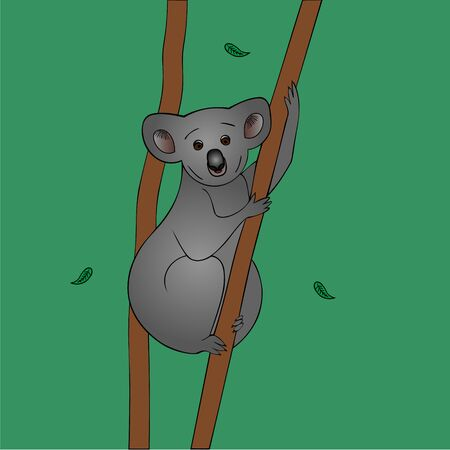 Color vector illustration of a Koala clutching a dry eucalyptus trunk. Leaves fall to the ground. Animal on a green background. Idea for sticker, book, magazine, web design. A mammal from Australia. Cartoon-style. Illustration