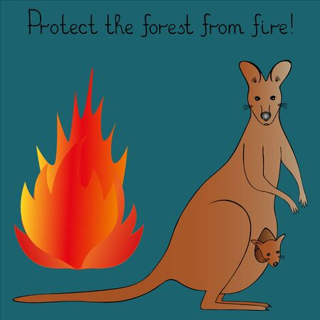 Color vector illustration-agitation. Protect the forest from fire. Mother kangaroo with a cub. Flame of fire. Green background. Idea for a book, magazine, or web design. The mammals of Australia. Cartoon-style. Illustration
