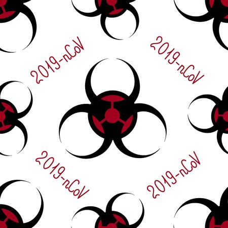 The endless pattern is a biohazard sign. 2019 coronavirus-nCoV. Vector. On an isolated background. Idea for a book, magazine, web design, educational literature. Symbol.