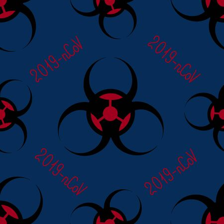 The endless pattern is a biohazard sign. 2019 coronavirus-nCoV. Vector. On a blue background. Idea for a book, magazine, web design, educational literature. Symbol. Ilustrace