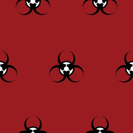 Infinite pattern: biohazard. Vector. On red background. Idea for a book, magazine, web design, educational literature. Symbol. Illustration
