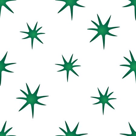 Seamless pattern of virus, bacteria in green. Isolated background. Vector abstraction. 2019-nCoV. Idea for the design of a medical article, educational literature, cover, cover. Endless ornament.