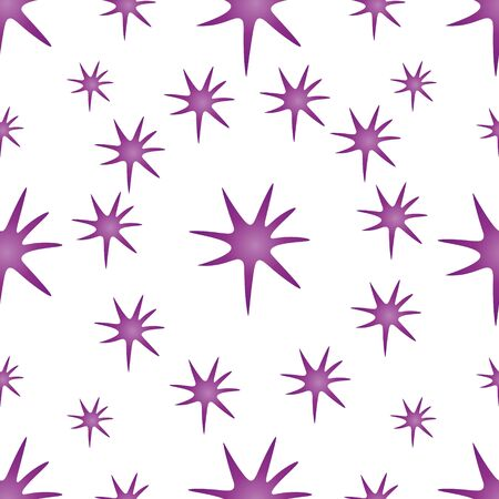 Seamless pattern of virus, bacteria, star in pink. Isolated a colorless background. Vector abstraction. Idea for Wallpaper, case, cover. Endless ornament.