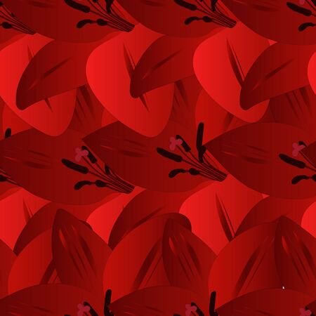 Endless red Lily vector pattern. Plant on an isolated background. Scarlet abstraction. Spring background. Idea for Wallpaper, cover, design. Floral print.