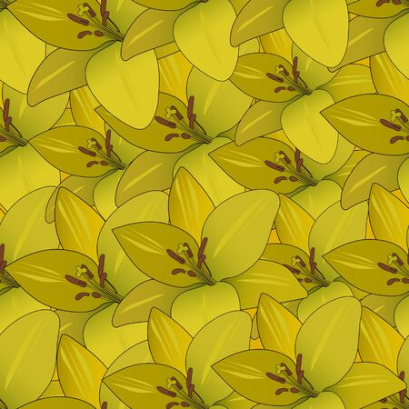 Endless yellow Lily vector pattern. Plant on a yellow substrate. Golden abstraction. Spring background. Idea for Wallpaper, cover, design. Floral print. 일러스트