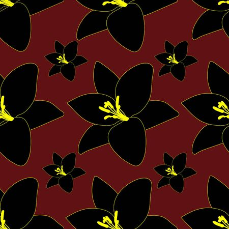 Endless black Lily vector pattern. Plant on a maroon background. Idea for Wallpaper, cover, cover, decoration, textiles. Abstract floral print.