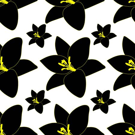 Endless black Lily vector pattern. Plant on an isolated background. Idea for Wallpaper, cover, case, design. Abstract floral print.
